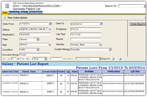 Generate Patient List Meaningful Use