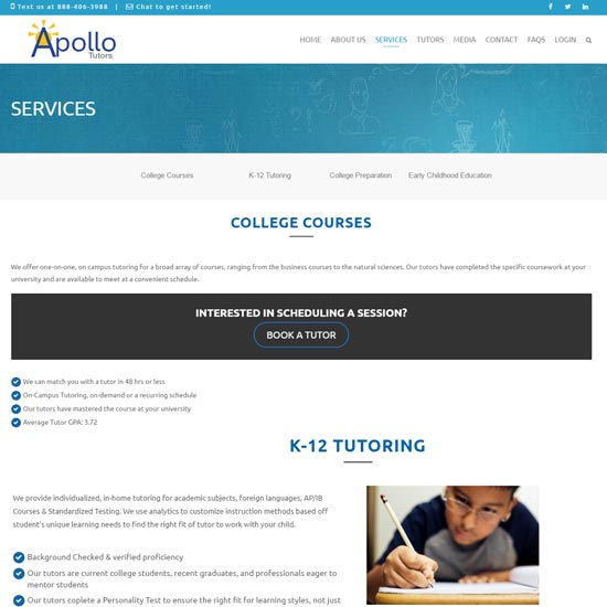 Apollo Tutors website